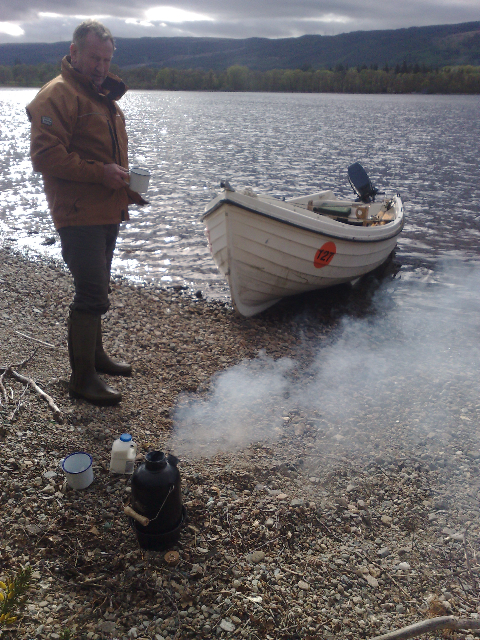 Aros with his STORM Kettle steaming on the shore of Loch Ness